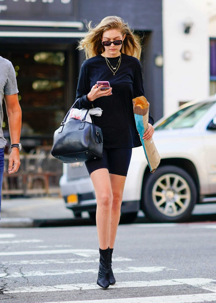 Gigi Hadid in a Black Spandex Shorts