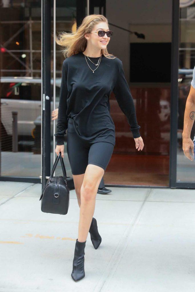 Gigi Hadid in a Black Spandex Shorts