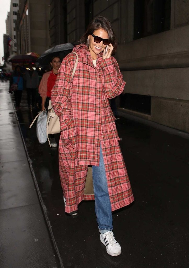 Katie Holmes in a Red Checked Coat