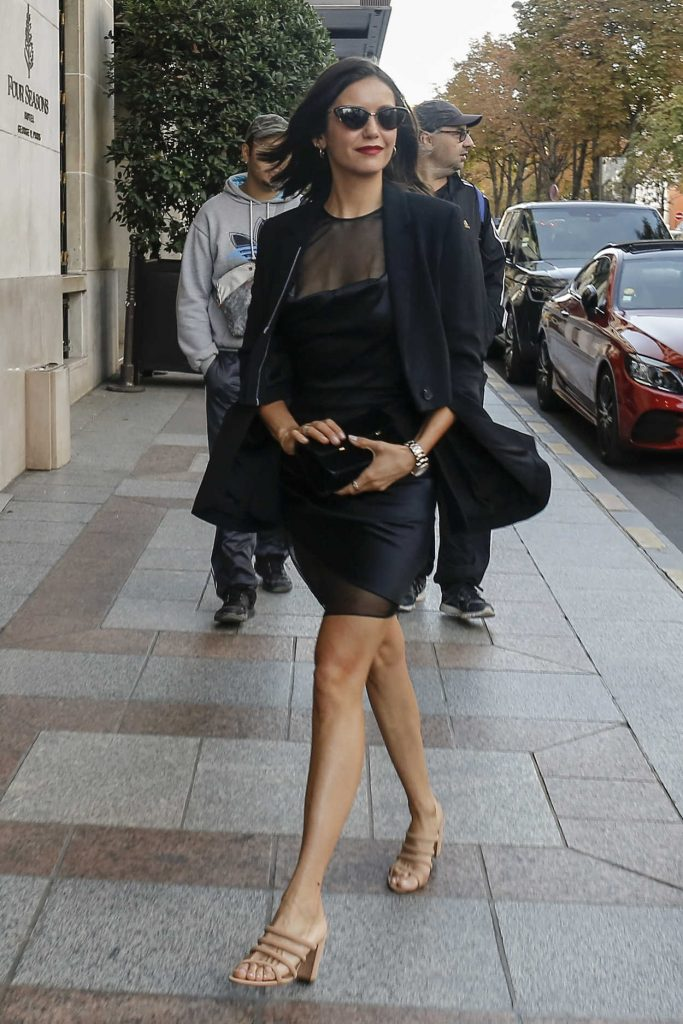 Nina Dobrev in a Short Black Dress
