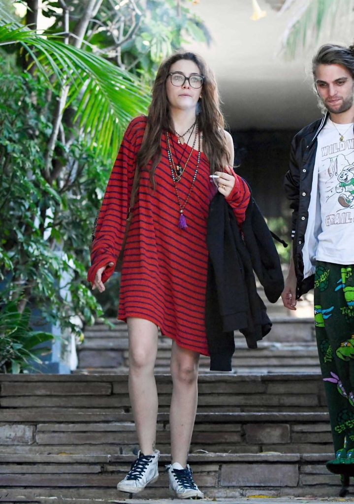 Paris Jackson in a Short Red Striped Dress