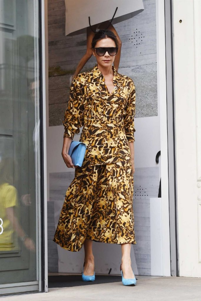 Victoria Beckham in an Animal Print Dress