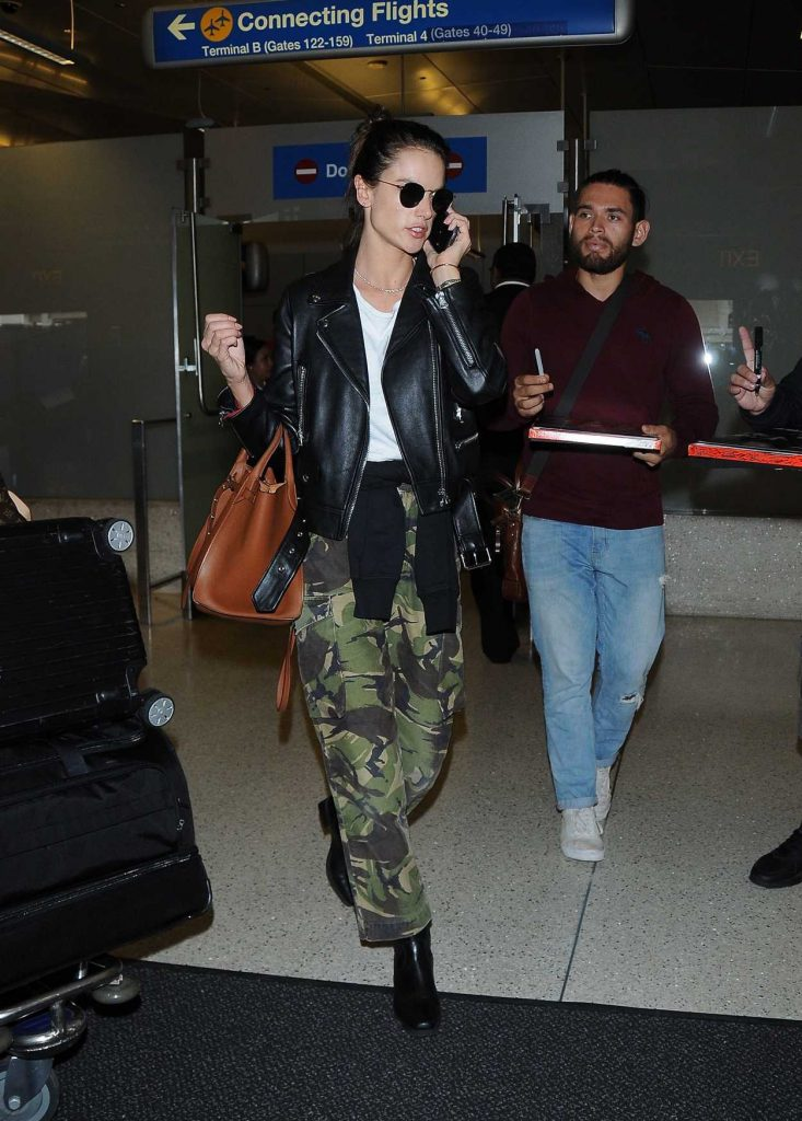 Alessandra Ambrosio in a Green Military Pants