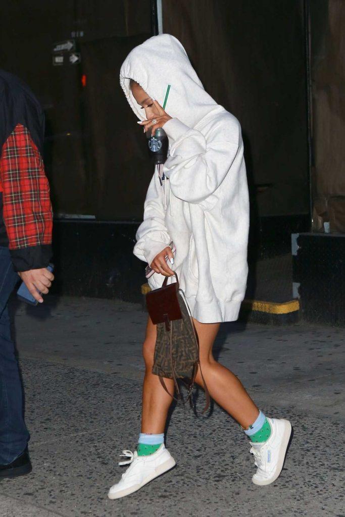 Ariana Grande in a White Hoody