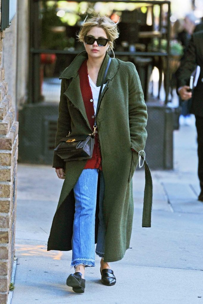 Ashley Benson in a Green Coat