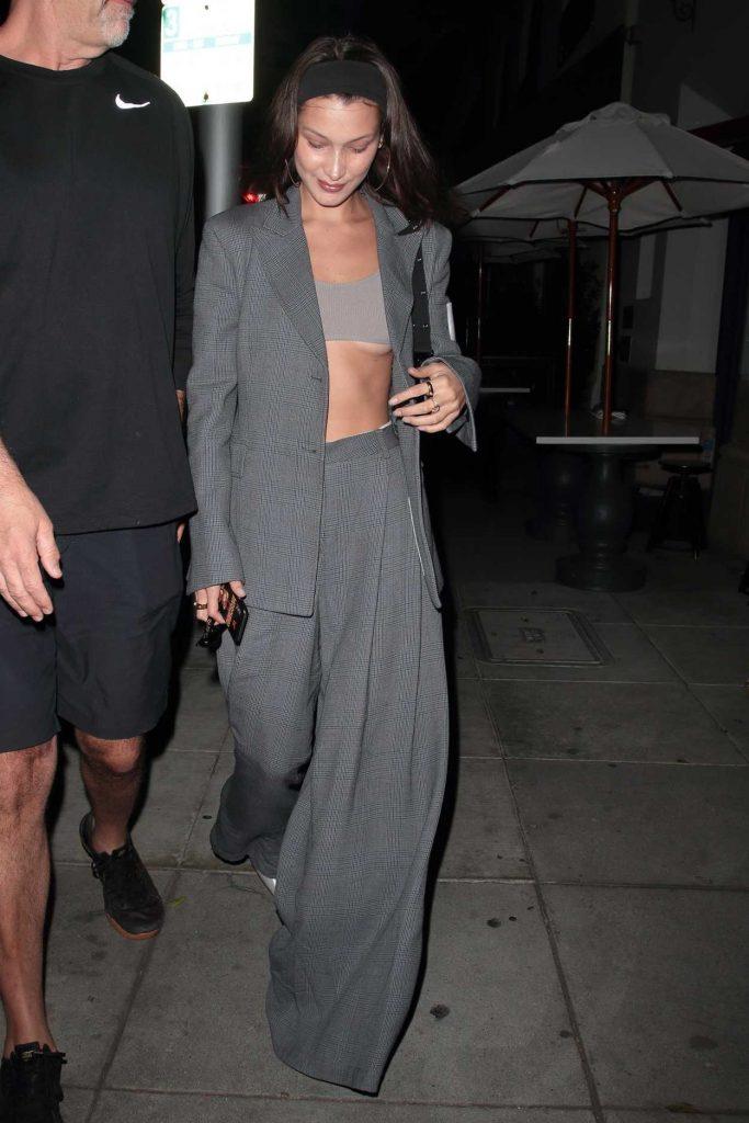 Bella Hadid in a Gray Suit