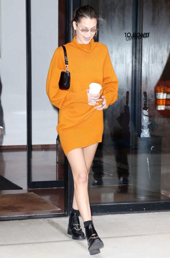 Bella Hadid in an Orange Dress