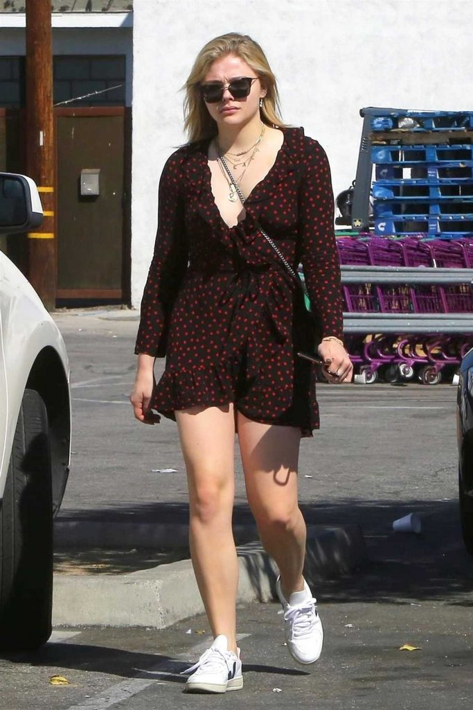 Chloe Moretz in a Short Polka Dot Dress