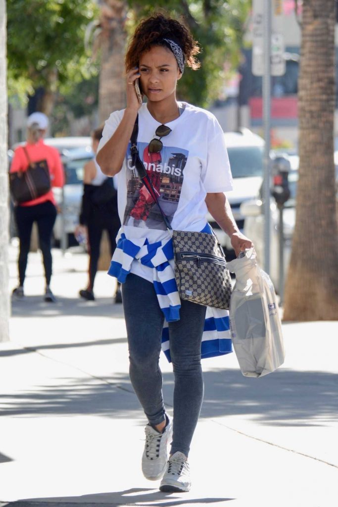 Christina Milian in a White Cannabis T-Shirt