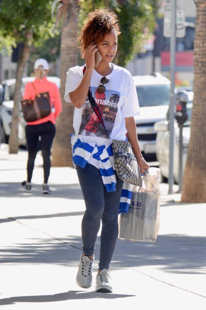 Christina Milian in a White Cannabis T-Shirt