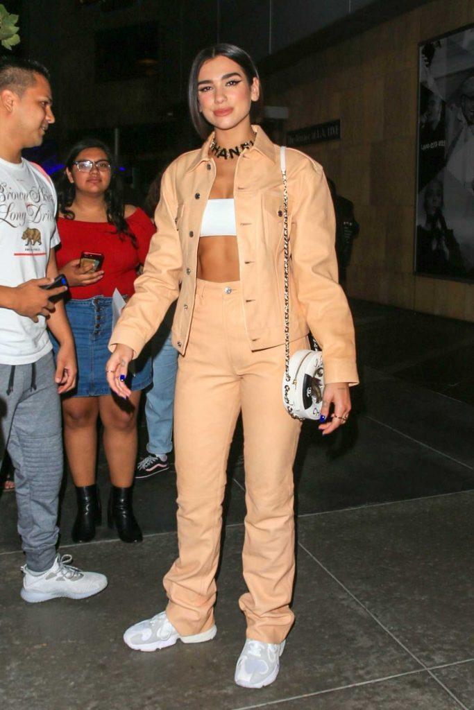 Dua Lipa in a Beige Leather Suit
