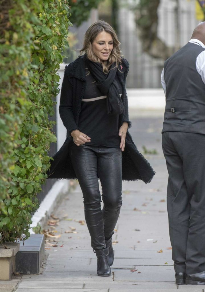Elizabeth Hurley in a Black Cardigan