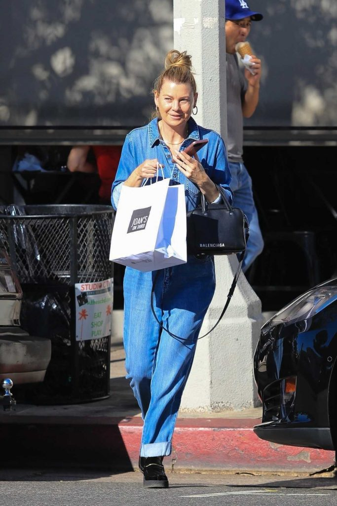 Ellen Pompeo in a Blue Denim Overalls