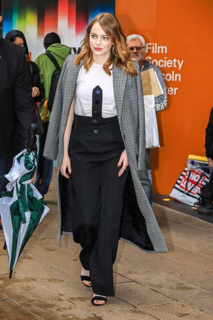 Emma Stone in a Gray Coat