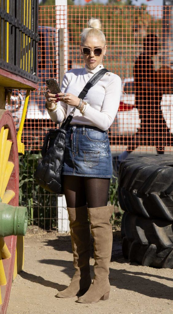 Gwen Stefani in a Short Denim Skirt