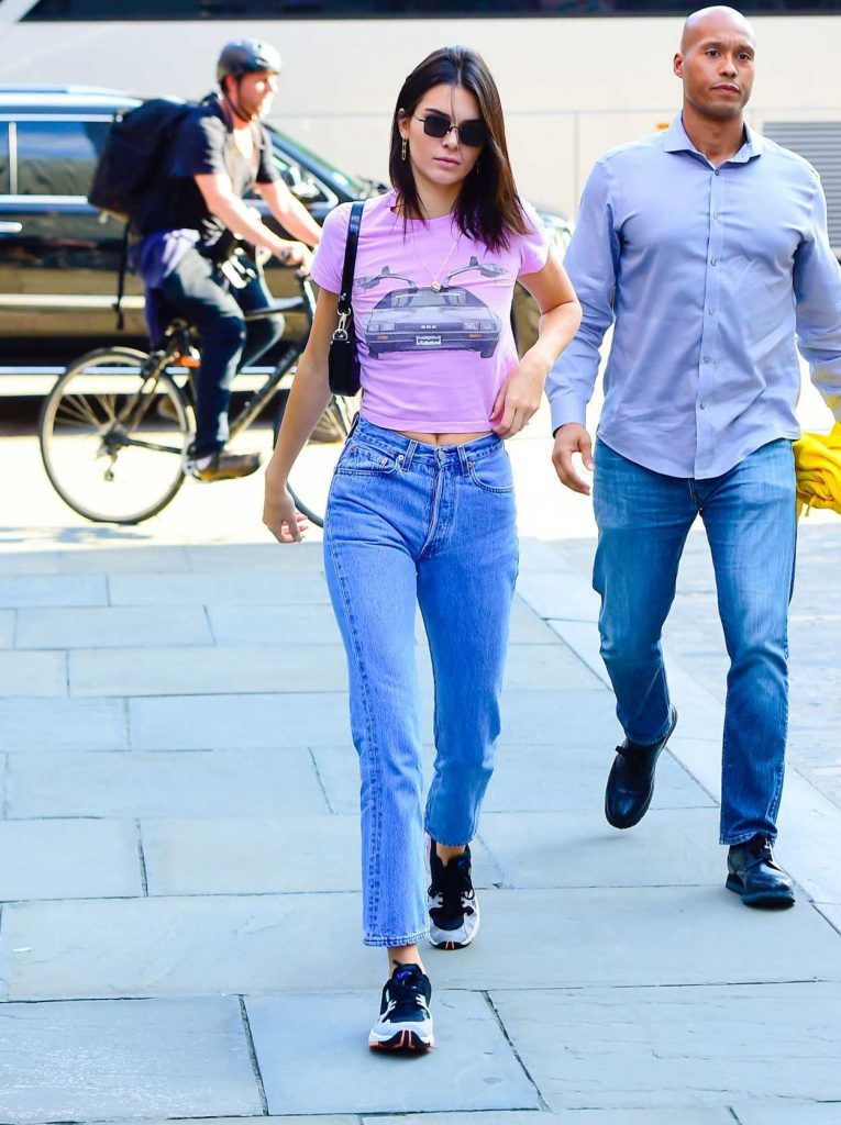 Kendall Jenner in a Pink T-Shirt