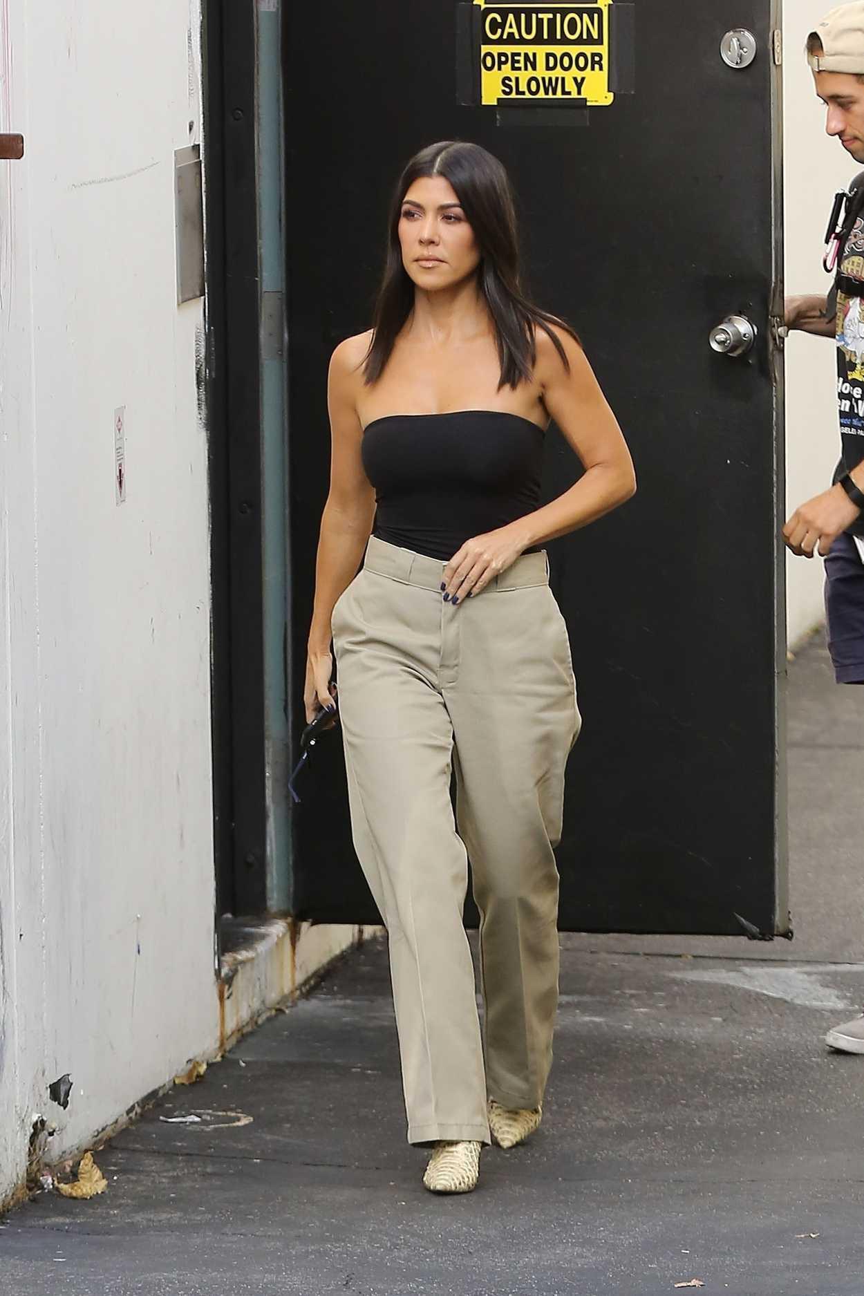 Kourtney Kardashian in a Black Top Leaves a Studio in Los ...