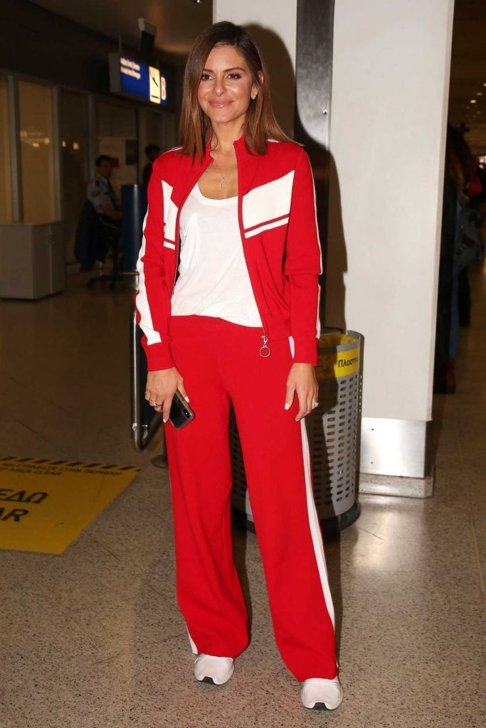 Maria Menounos in a Red Tracksuit
