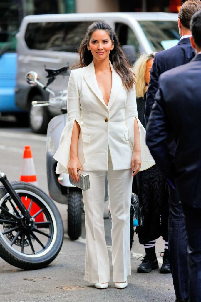 Olivia Munn in a White Suit