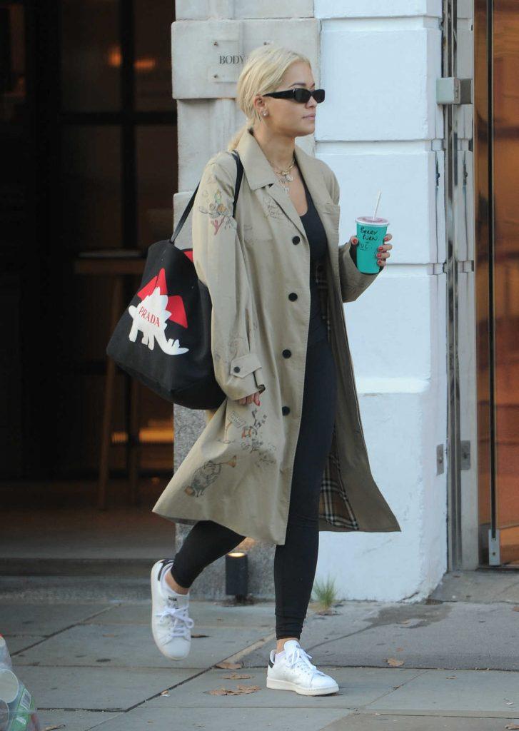 Rita Ora in a Beige Trench Coat