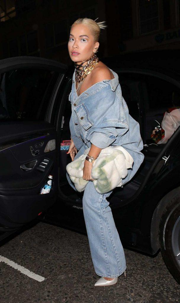 Rita Ora in a Blue Denim Suit