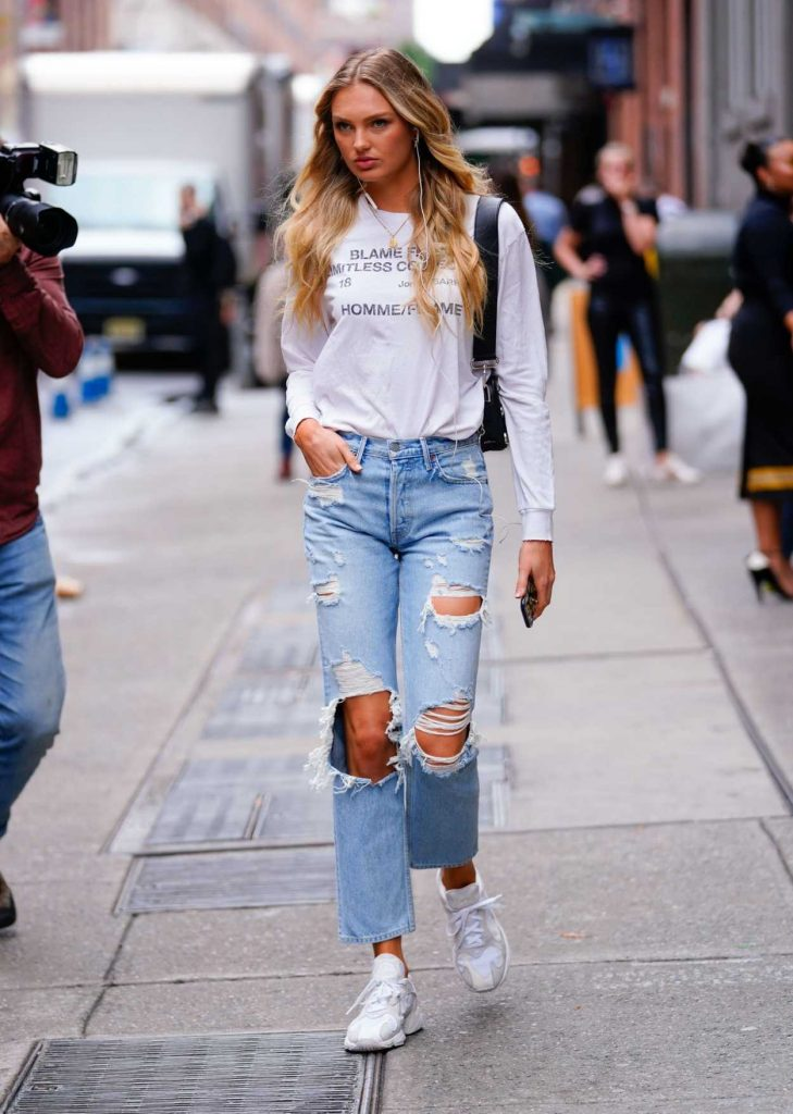 Romee Strijd in a Blue Ripped Jeans