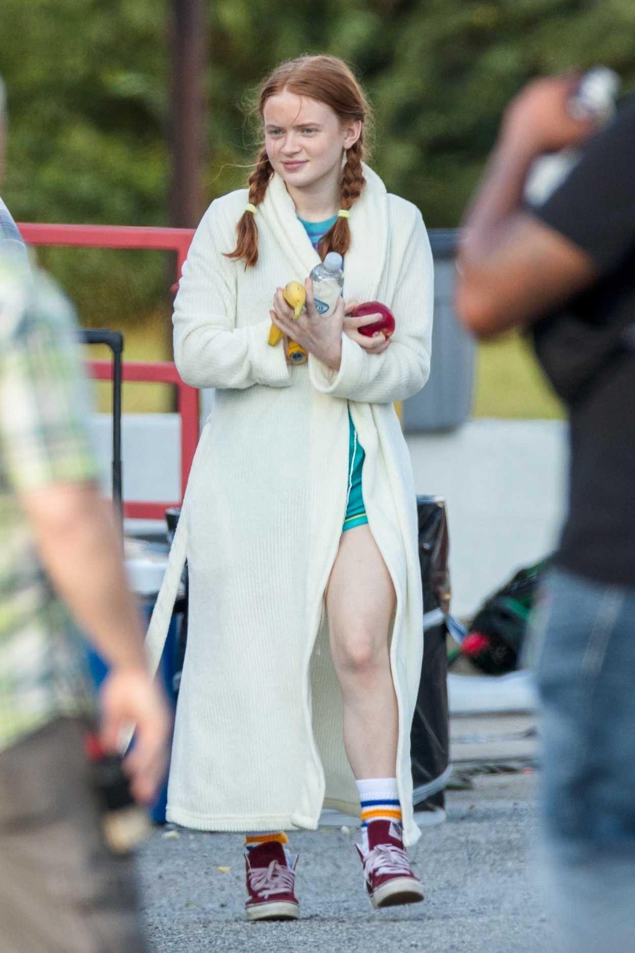 Sadie Sink on the Set of Stranger Things Season 3 in
