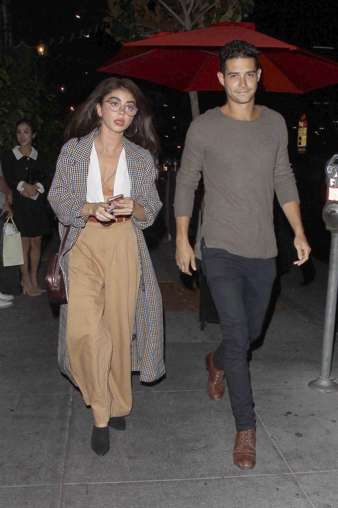 Sarah Hyland in a Beige Pants