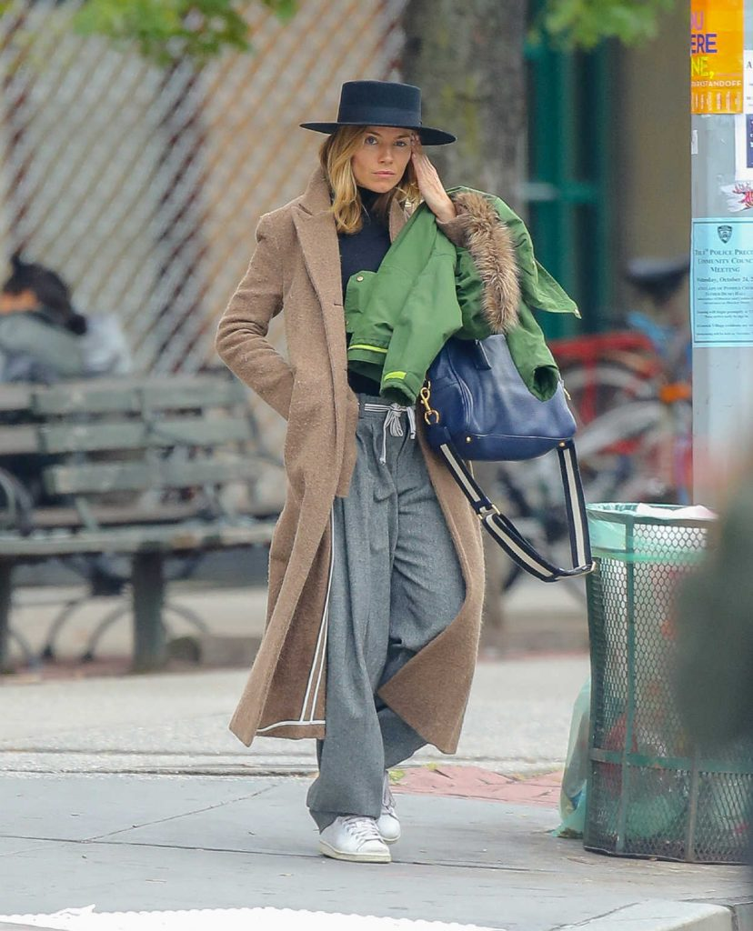 Sienna Miller in a Beige Coat