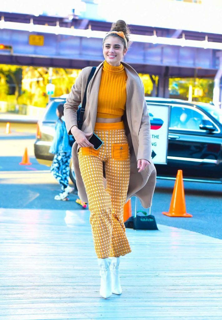 Taylor Hill in an Orange Plaid Trousers