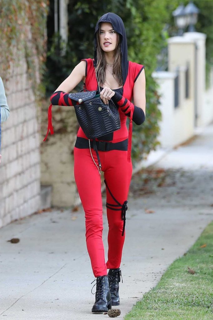 Alessandra Ambrosio Dresses up as a Sexy Red Ninja