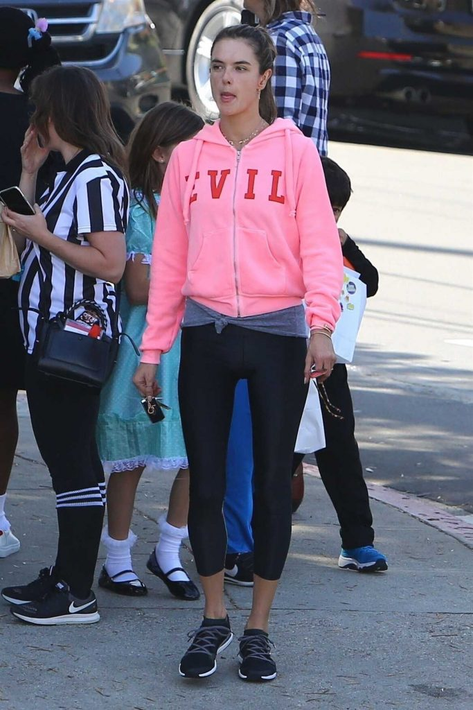 Alessandra Ambrosio in a Pink Hoody