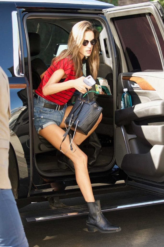 Alessandra Ambrosio in a Red and Black Stripes T-Shirt