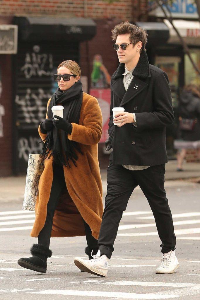 Ashley Tisdale in an Orange Fur Coat