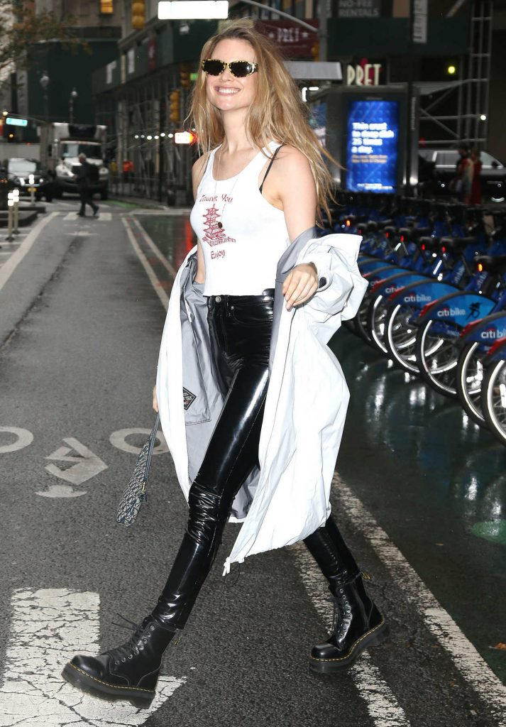 Behati Prinsloo in a Black Dr. Martens Boots