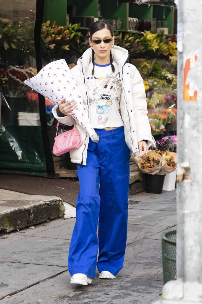 Bella Hadid in a Bright Blue Trousers