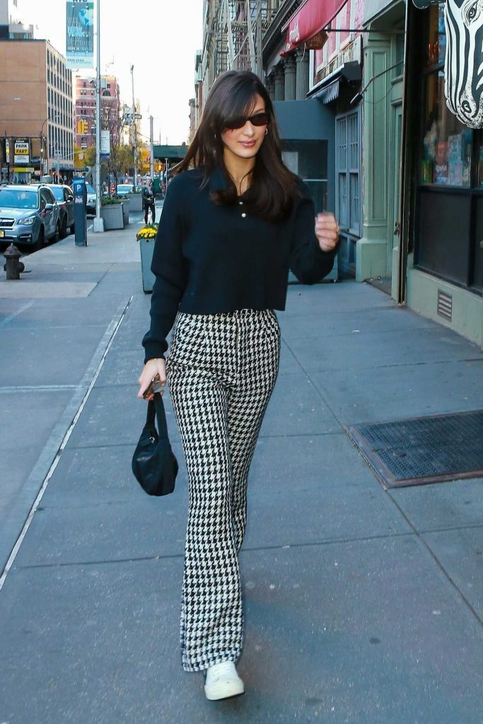Bella Hadid in a Plaid Trousers