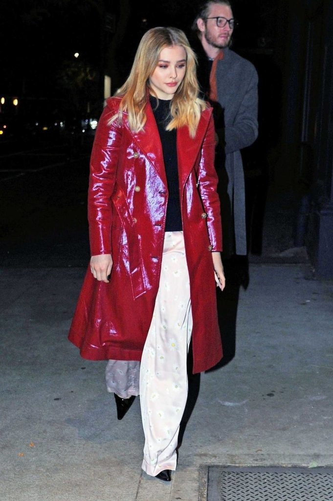Chloe Moretz in a Red Trench Coat
