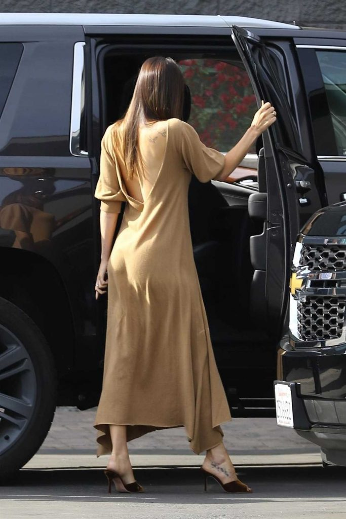 Dakota Johnson in a Beige Dress Arrives at a Studio in Hollywood 11/17/2018 – celebsla.com