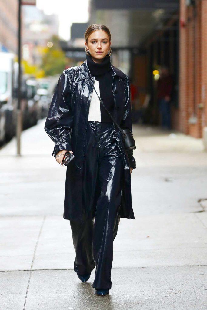 Delilah Belle Hamlin in a Black Leather Trench Coat