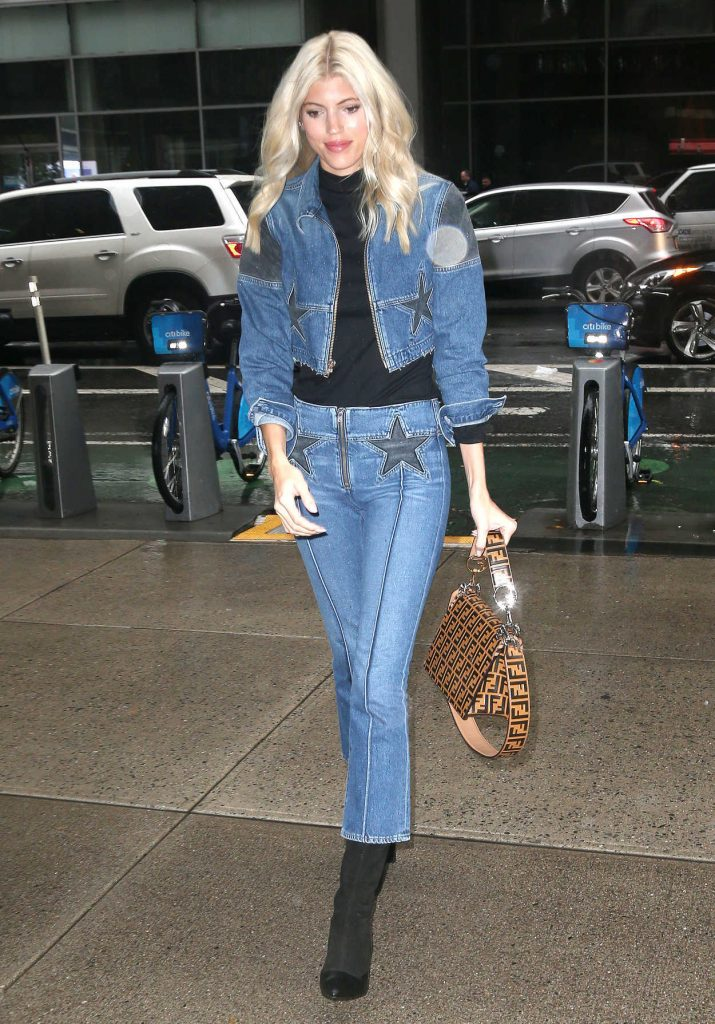 Devon Windsor in a Blue Denim Suit