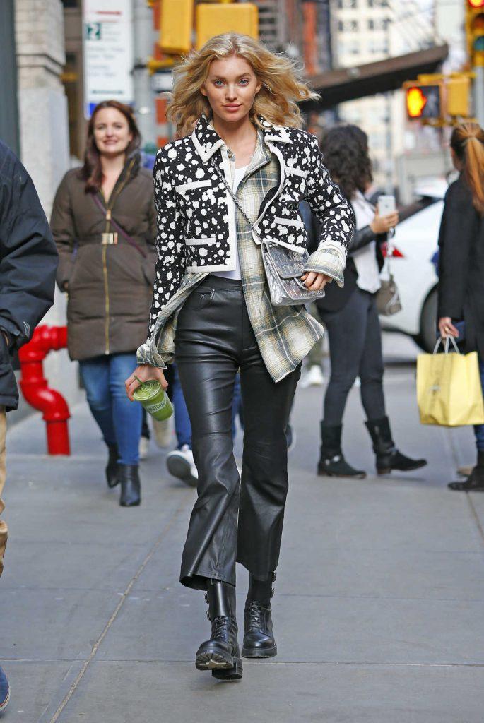Elsa Hosk in a Black Leather Pants