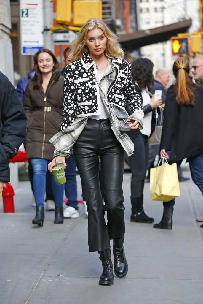 Elsa Hosk in a Black Leather Pants