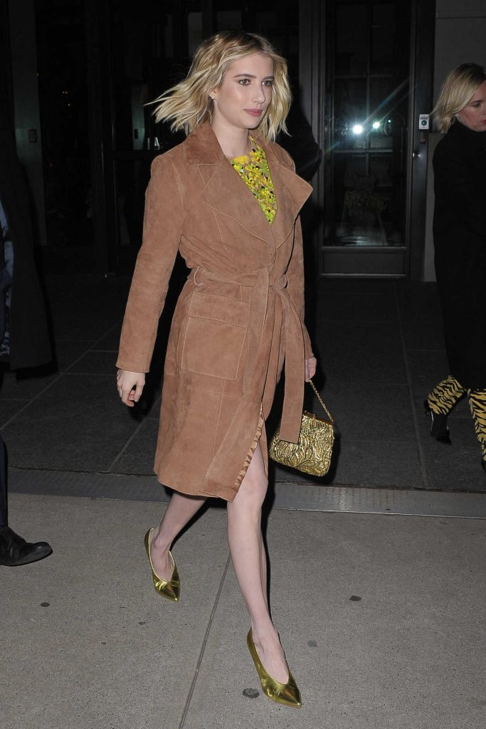 Emma Roberts in a Beige Trench Coat