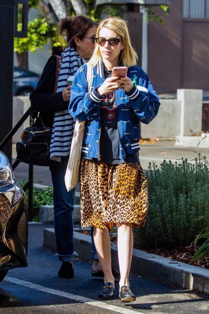Emma Roberts in a Leopard Print Skirt