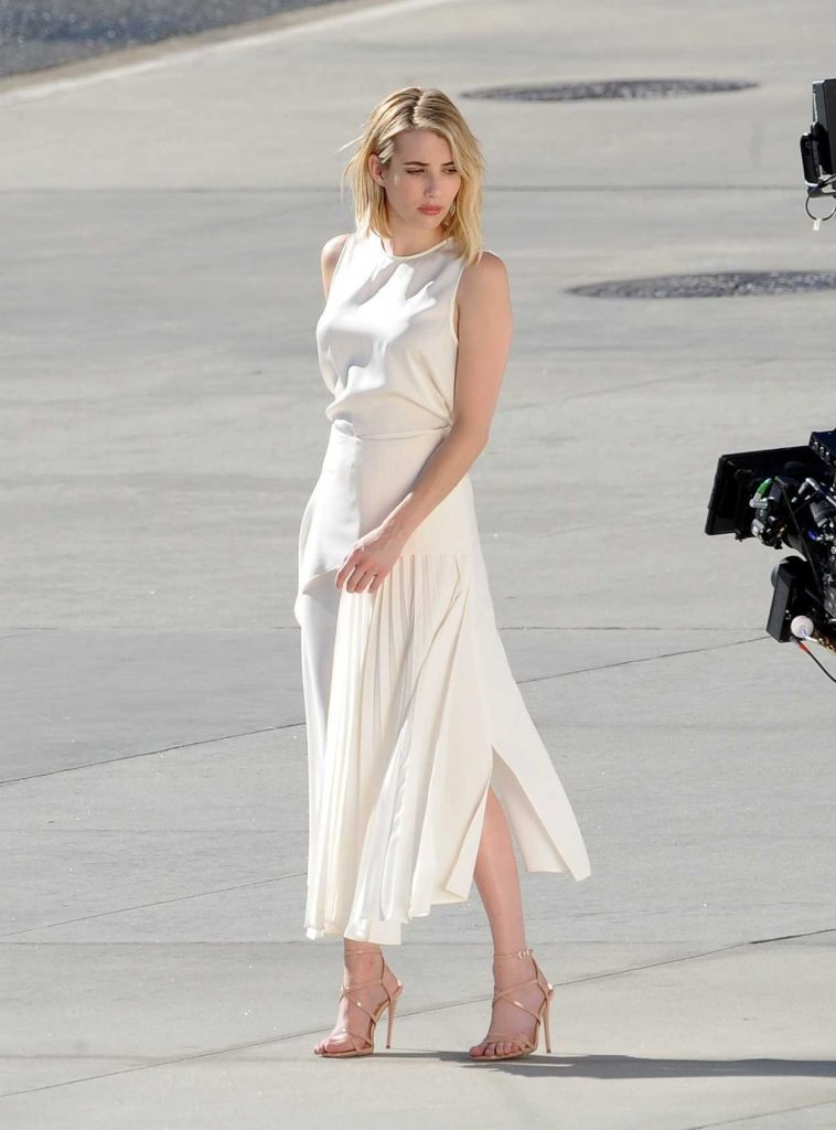 Emma Roberts in a Long White Dress
