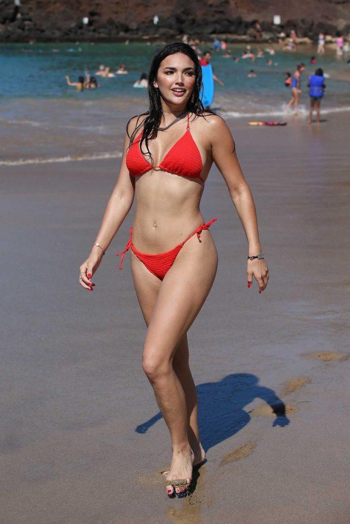 Hailee Lautenbach in a Red Bikini