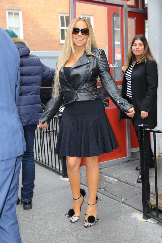 Mariah Carey in a Short Black Leather Jacket