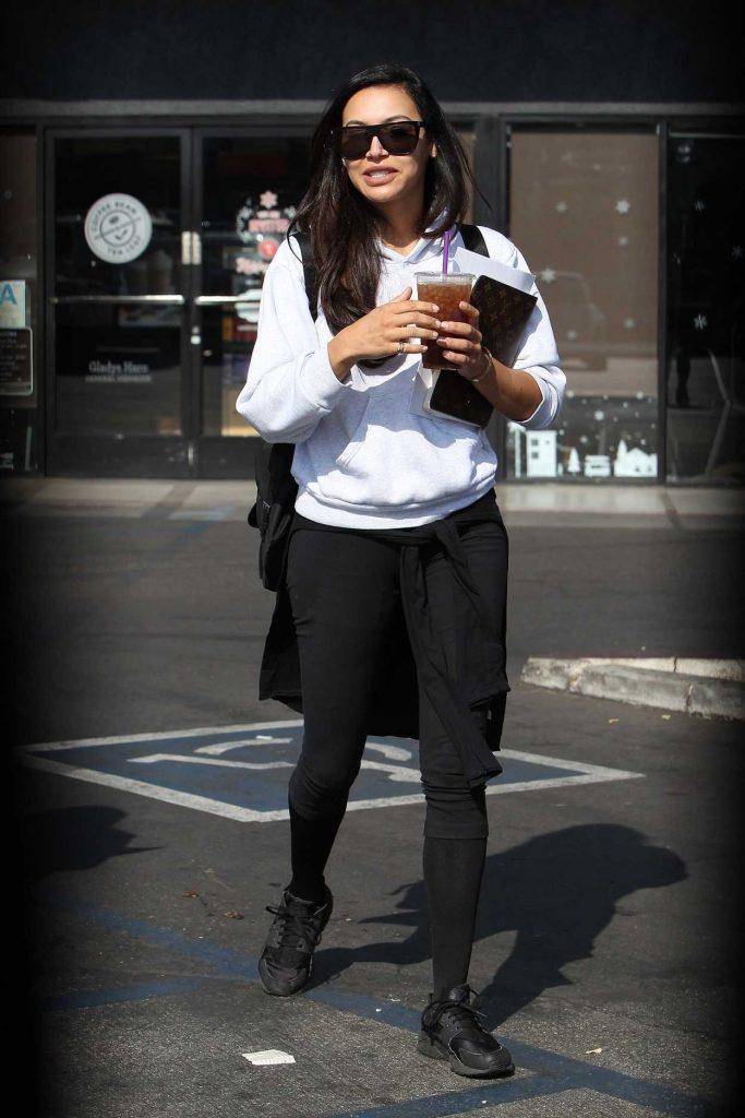 Naya Rivera in a White Hoody