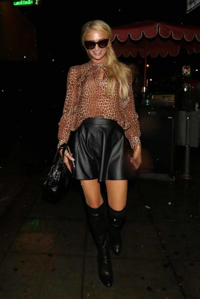 Paris Hilton in a Leopard Print Blouse